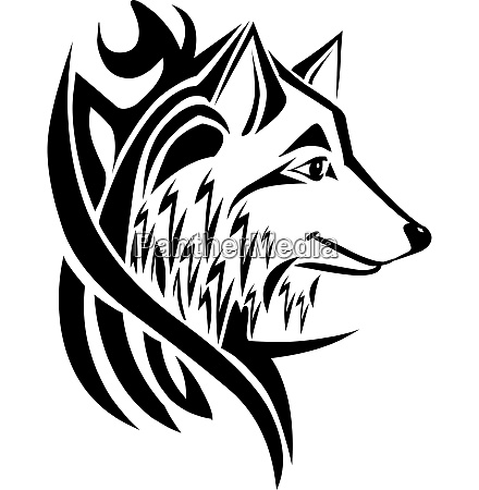 tattoo design wolf kopf vintage gravur