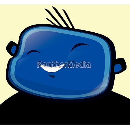 gluecklicher junge blau illustration