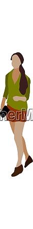girl in green shirt illustration vector