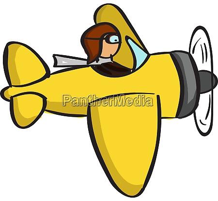 yellow plane illustration vector on white