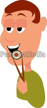 man eating sushi illustration vector on