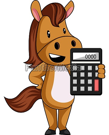 horse with calculator illustration vector on