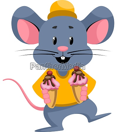 mouse with ice cream illustration vector