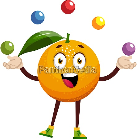 orange juggling illustration vector on white