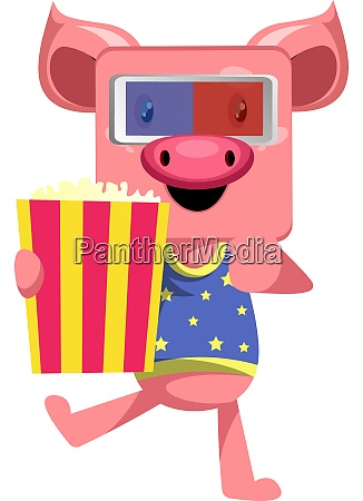 pig with popcorn illustration vector on