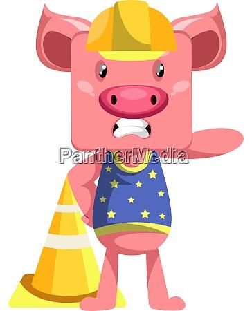 pig working illustration vector on white