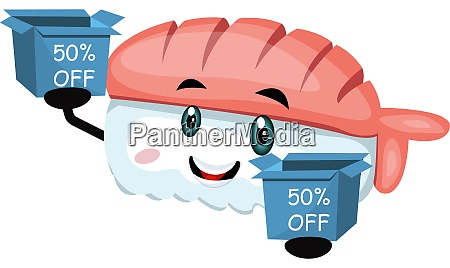 sushi with sale box illustration vector