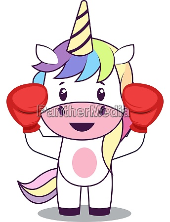 unicorn with boxing gloves illustration vector