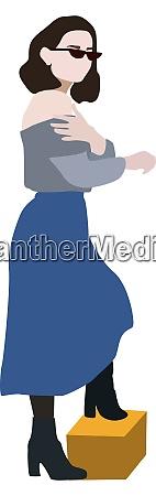 girl in blue skirt illustration vector