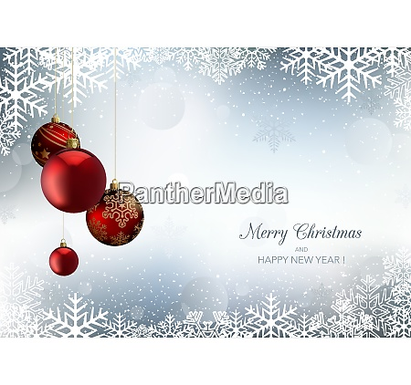 christmas greeting with snowflakes and xmas
