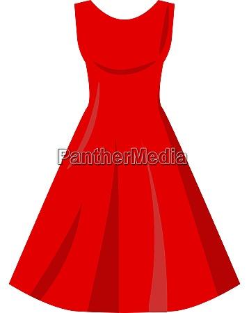 red dress illustration vector on white