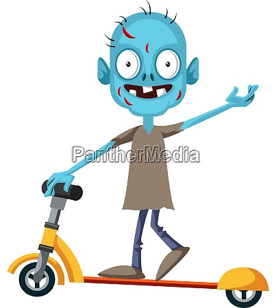 zombie on scooter illustration vector on