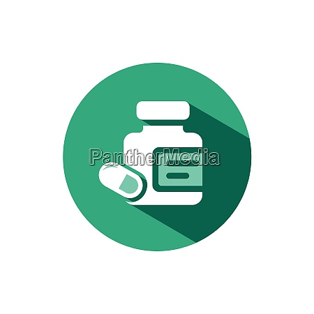 medicine pills and capsules bottle icon