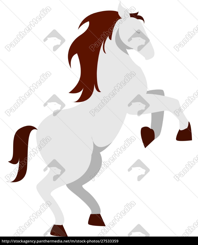 weißes, pferd, illustration, vektor, auf, weißem, hintergrund. - 27533359