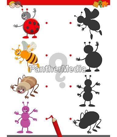 schattenspiel mit niedlichen insekten charakteren