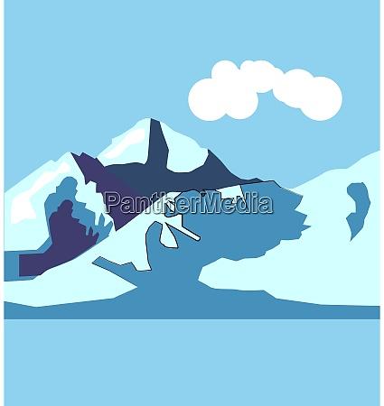 berg, illustration, vektor, auf, weißem, hintergrund. - 27536698