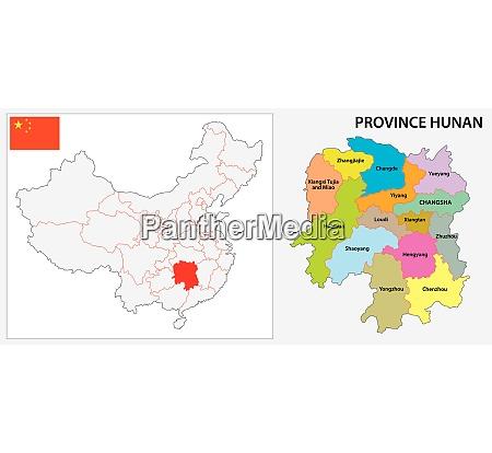 provinz hunan administrative und politische karte