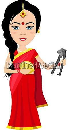 indian woman with lemon illustration vector