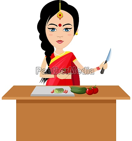 indian woman working illustration vector on
