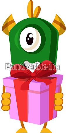 monster with birthday present illustration vector