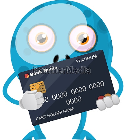 blue monster with credit card illustration
