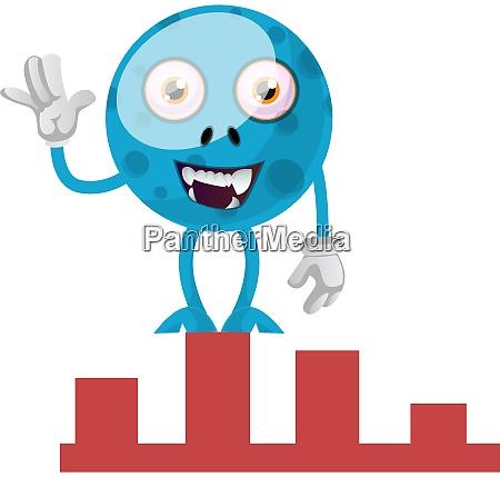 blue monster waving illustration vector on