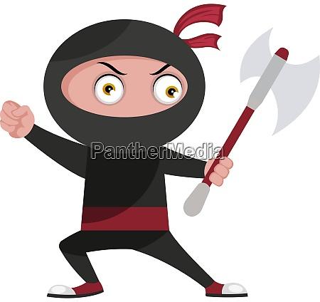 ninja mit grosser axt illustration vektor