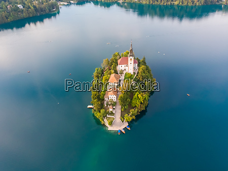 aerial view of lake bled island