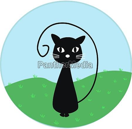 cat black illustration vector on white