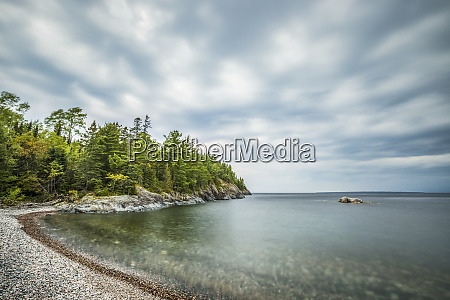 tranquil lake superior and a rocky