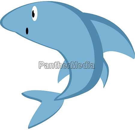 blue shark illustration vector on white