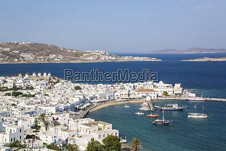 mediterranean coastline of greece with white