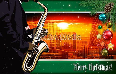 christmas red green illustration with saxophone