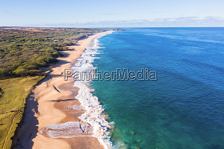 aerial view of papohaku beach west