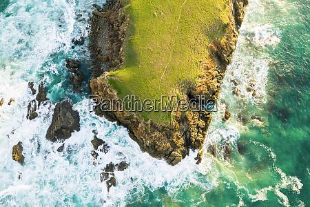 luftaufnahme von bare bluff sandy beach