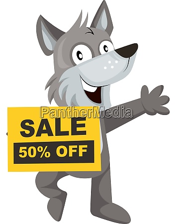 wolf with sale sign illustration vector