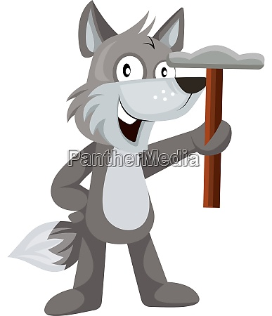 wolf with hammer illustration vector on