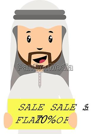arab men with sale sign illustration