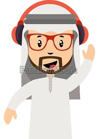 arab men with headphones illustration vector