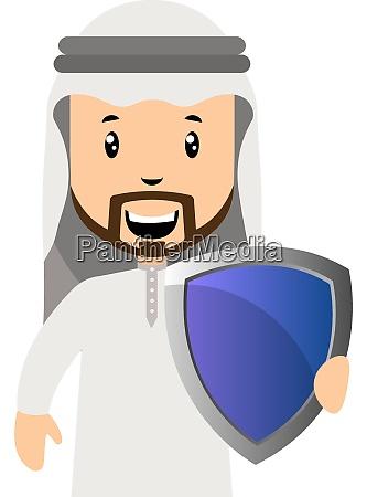 arab men with shield illustration vector