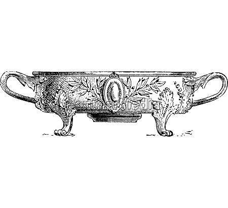 kochgefaess auf herd vintage gravur