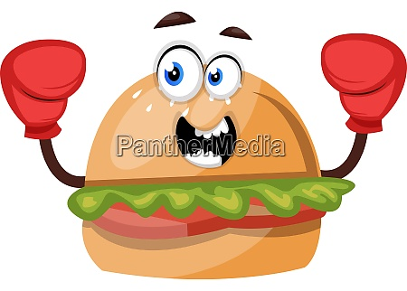 burger with red gloves illustration vector