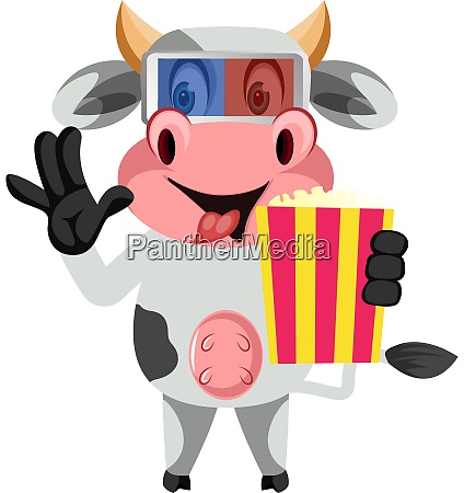cow with popcorn illustration vector on