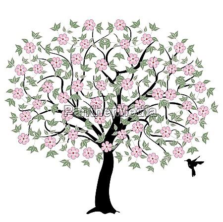 baum mit rosa blueten