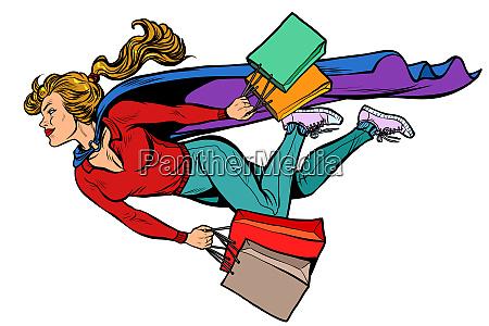 superheld frau fliegen mit einkaufen verkaeufe