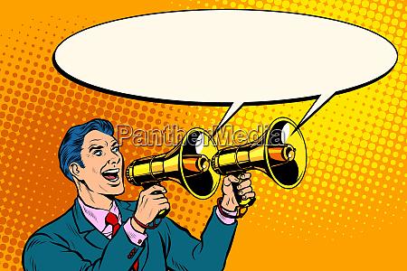 geschaeftsmann mit megafon ankuendigungswerbung