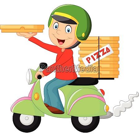cartoon pizza lieferung junge fahren motorrad