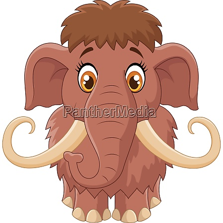 cartoon cute mammoth isolated on white