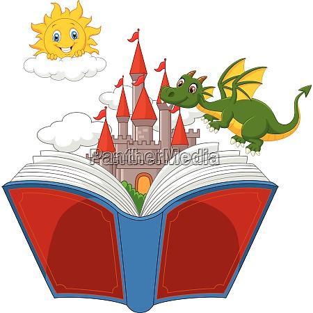 geschichtenbuch mit schloss drache und sonne