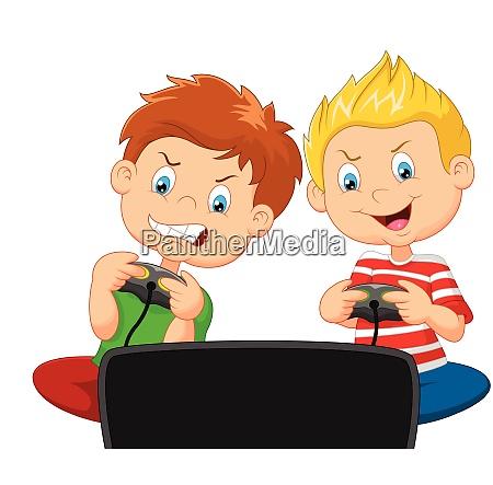 kleine jungen spielen videospiel